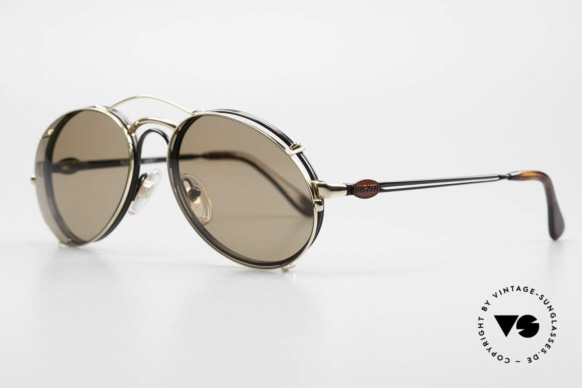 Bugatti 03326 80er Sonnenbrille Clip On Men, Rahmen mit Federscharnieren für optimalen Komfort, Passend für Herren