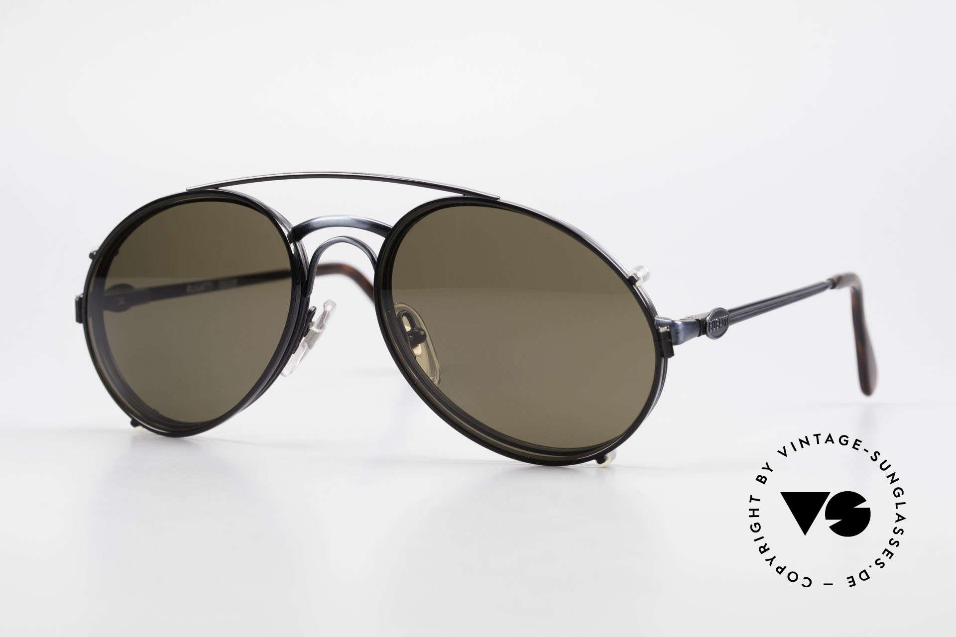 Bugatti 03328 Herrensonnenbrille Clip On, klassische BUGATTI vintage Sonnenbrille von 1989, Passend für Herren
