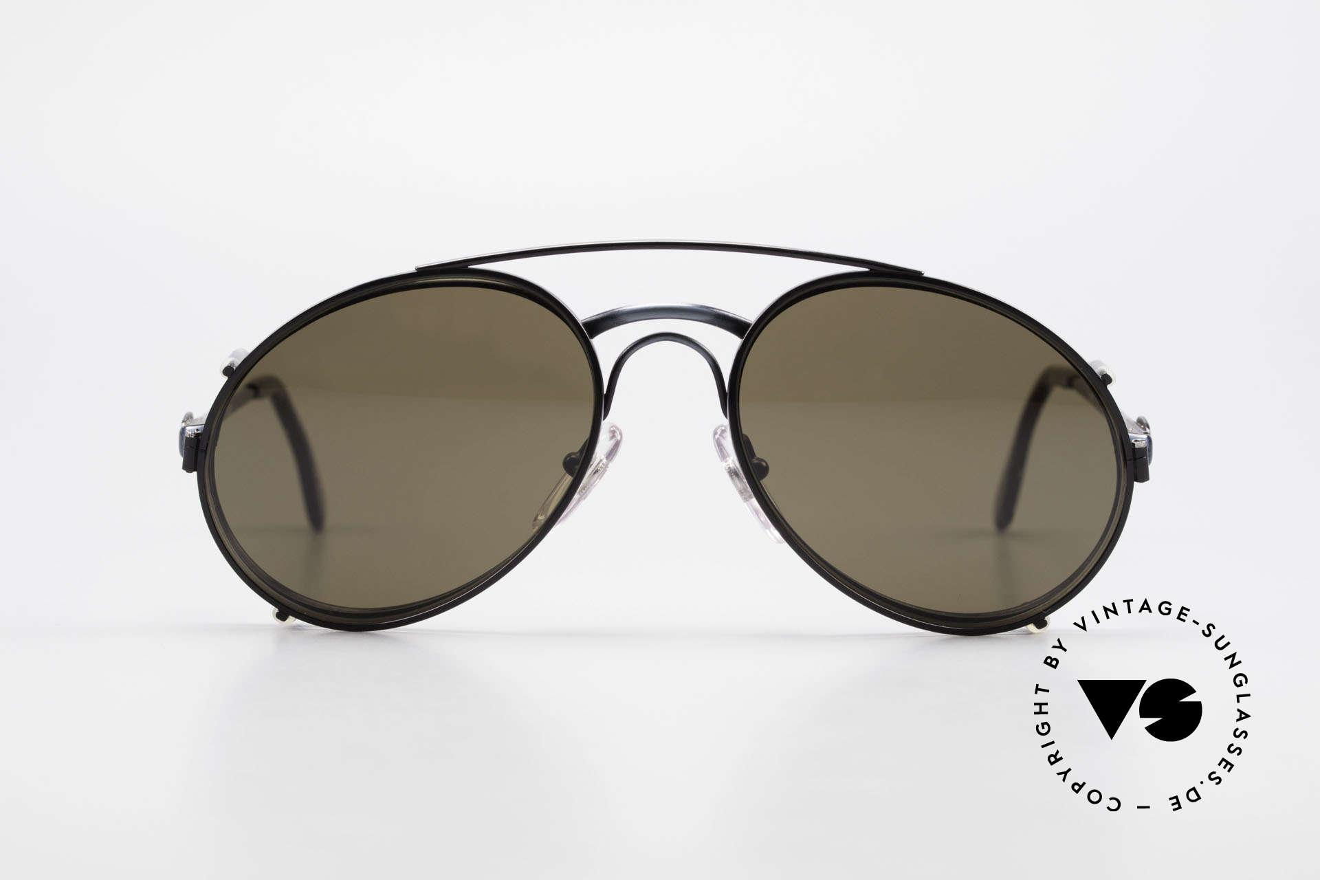 Bugatti 03328 Herrensonnenbrille Clip On, legendäre Bugatti Herren(Tropfen)-Form in Gr. 52mm, Passend für Herren