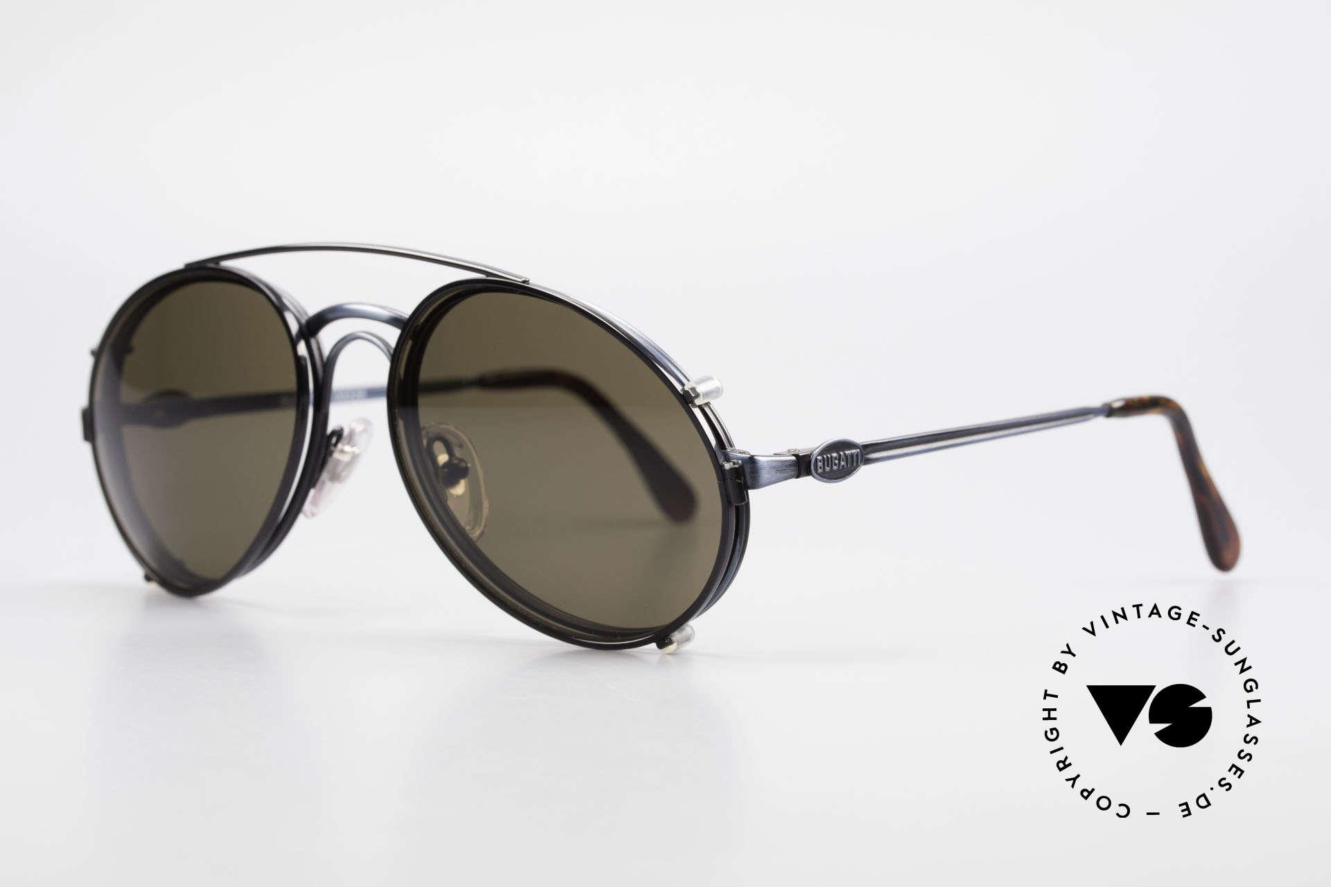 """Bugatti 03328 Herrensonnenbrille Clip On, Fassung in """"antik blau"""" und Clip in schwarz; sehr edel, Passend für Herren"""