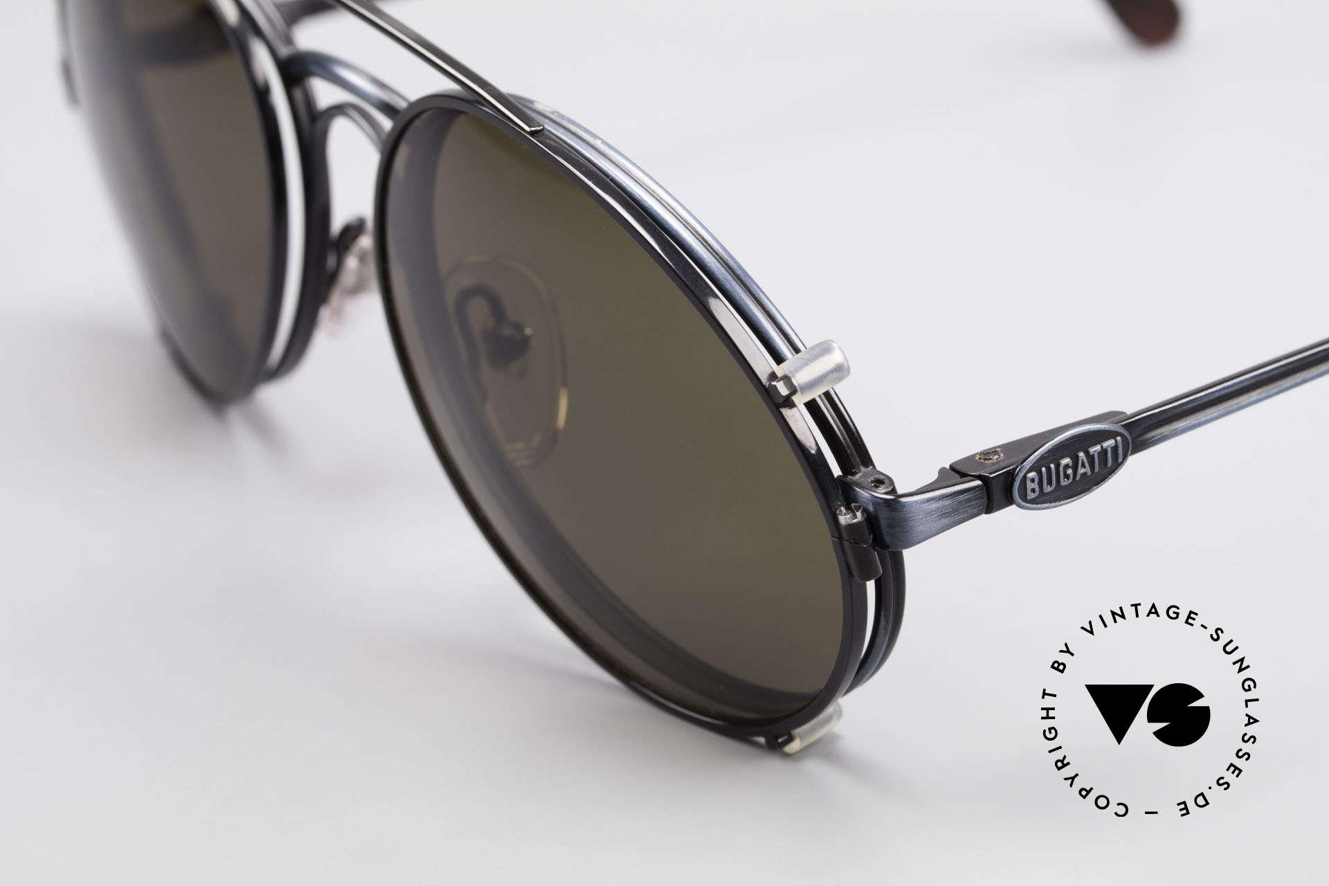 Bugatti 03328 Herrensonnenbrille Clip On, ungetragen (wie alle unsere vintage Bugatti Modelle), Passend für Herren