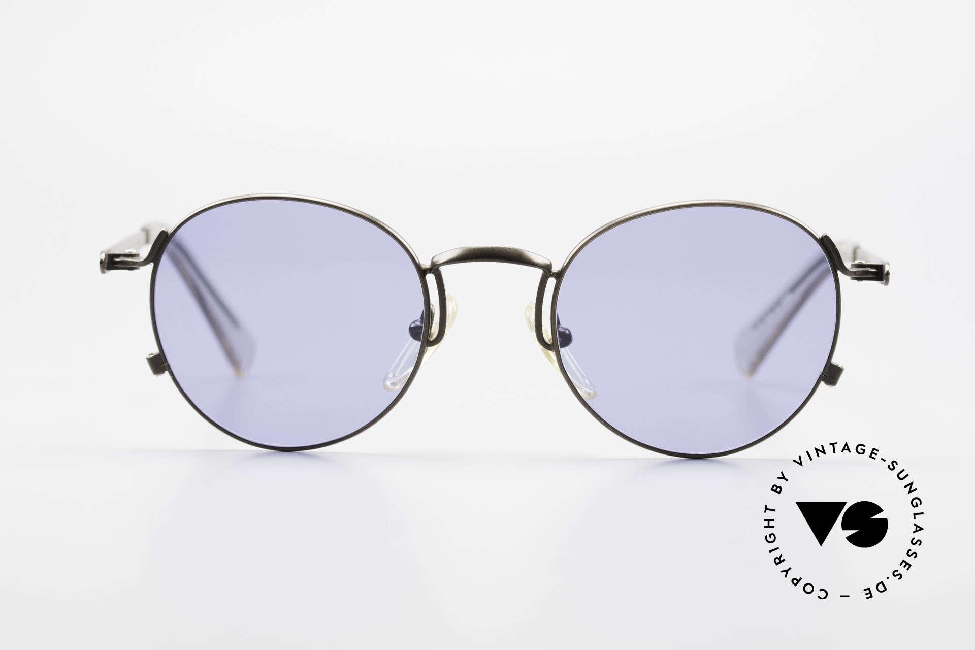 Jean Paul Gaultier 57-1171 90er Designer Sonnenbrille, einzigartig glänzende Lackierung in braungrau-metallic, Passend für Herren und Damen
