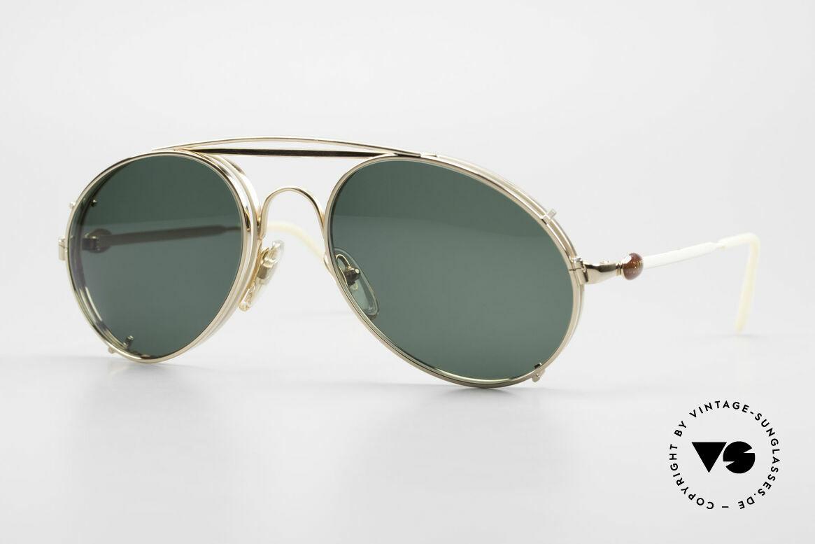 Bugatti 65987 Vergoldete Fassung Mit Clip, rare VINTAGE Bugatti 80er Luxus-Sonnenbrille, Passend für Herren