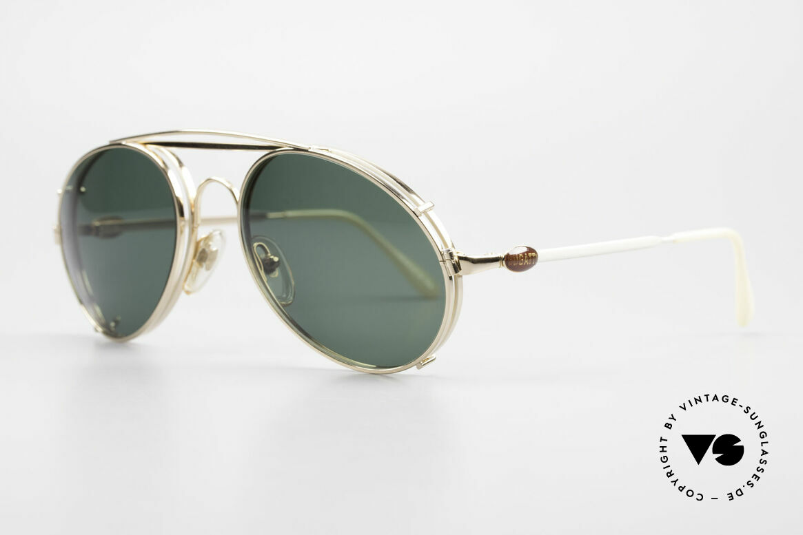 Bugatti 65987 Vergoldete Fassung Mit Clip, SonnenClip mit grünen Gläsern; 100% UV Schutz, Passend für Herren