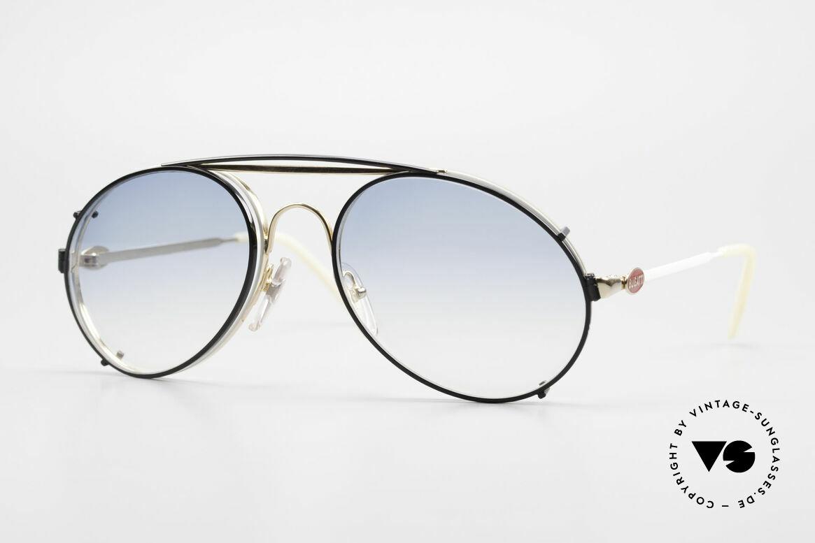 Bugatti 65987 Vintage Brille Mit Sonnenclip, rare VINTAGE Bugatti 80er Luxus-Sonnenbrille, Passend für Herren