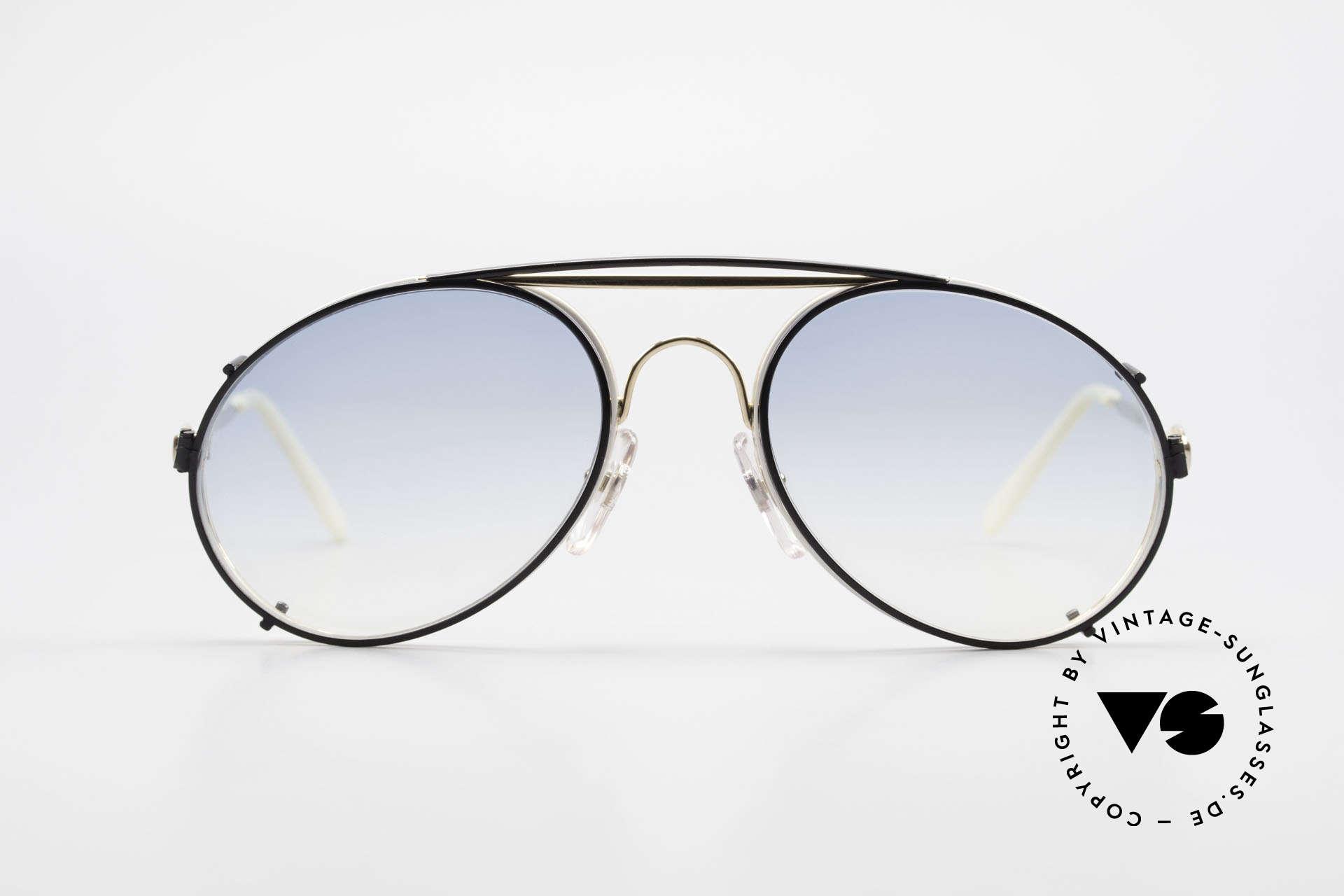 Bugatti 65987 Vintage Brille Mit Sonnenclip, in typischer / legendärer Bugatti-Tropfenform, Passend für Herren