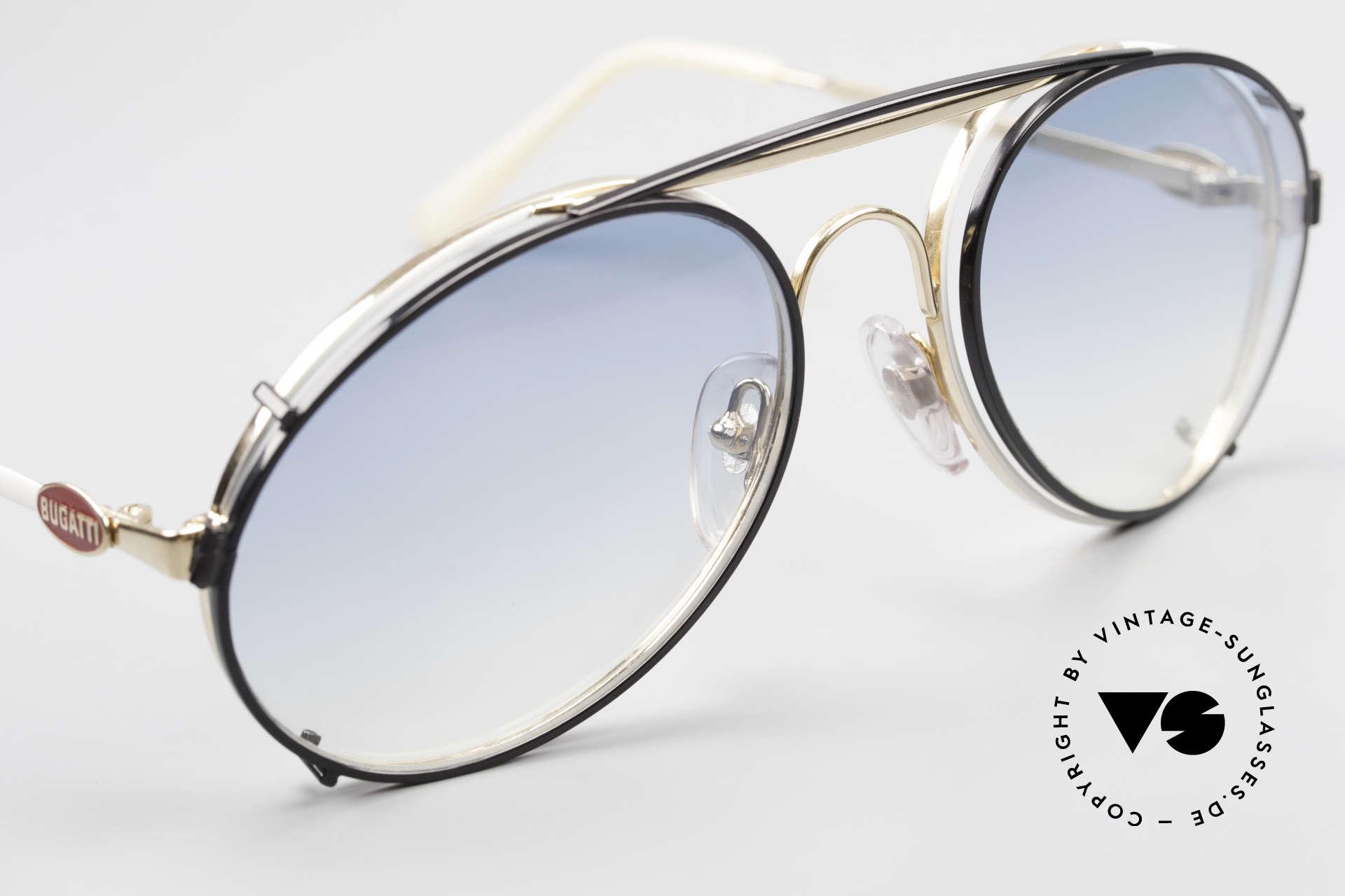 Bugatti 65987 Vintage Brille Mit Sonnenclip, schwarzer SonnenClip mit blau-Verlauf Gläsern, Passend für Herren