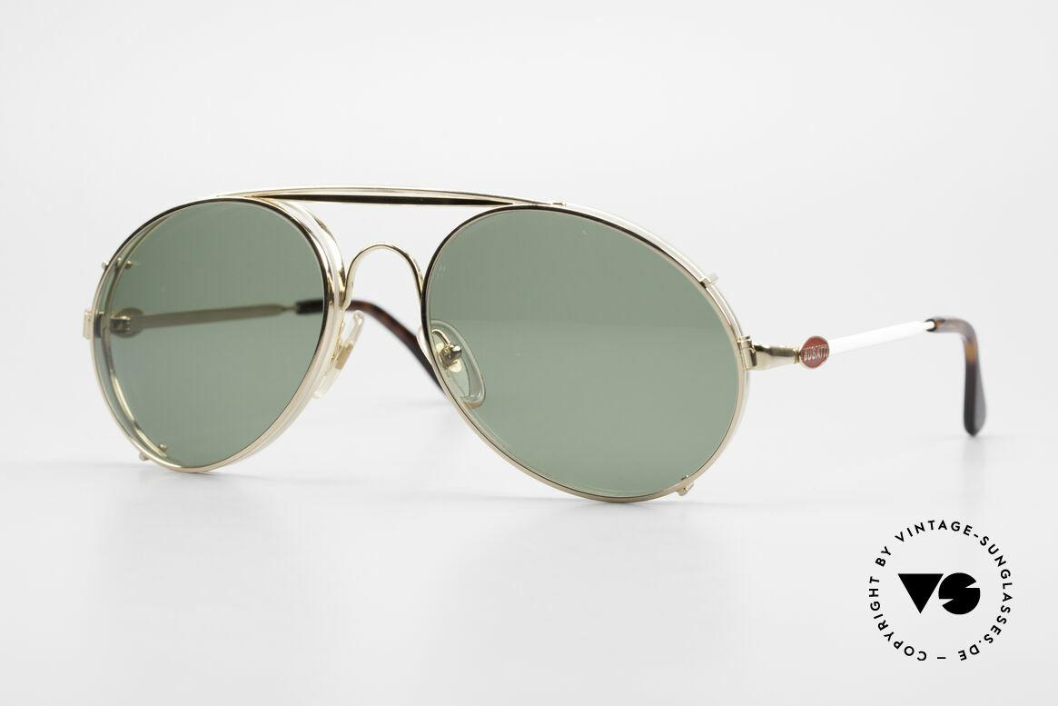 Bugatti 65987 80er Vintage Brille Mit Clip On, rare VINTAGE Bugatti 80er Luxus-Sonnenbrille, Passend für Herren