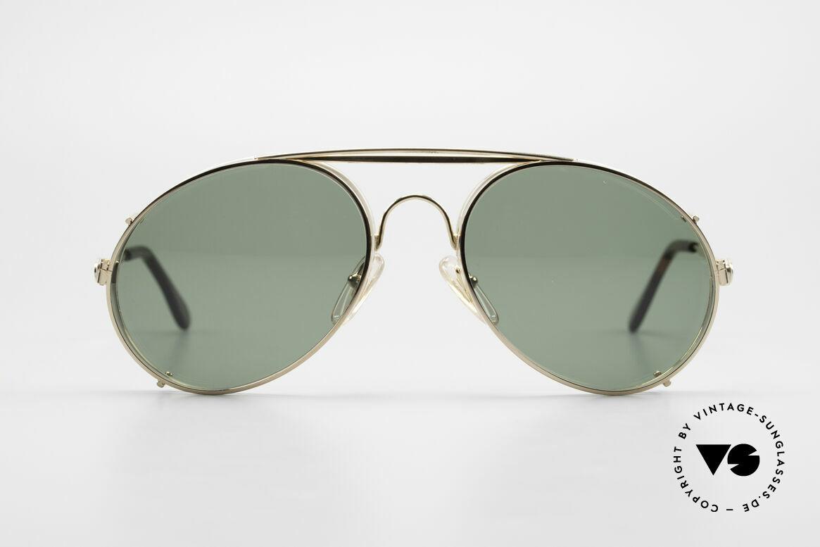 Bugatti 65987 80er Vintage Brille Mit Clip On, in typischer / legendärer Bugatti-Tropfenform, Passend für Herren