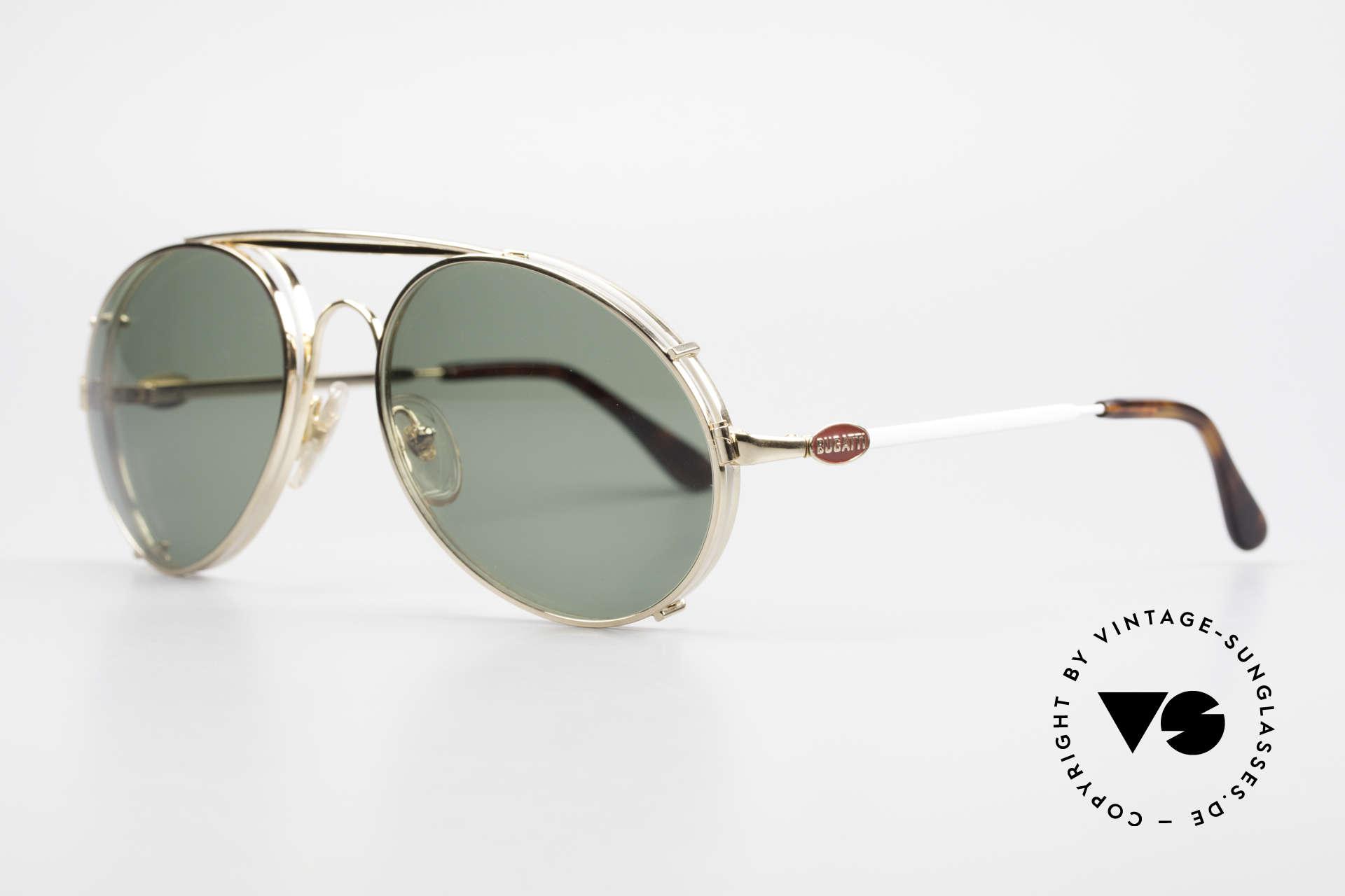 Bugatti 65987 80er Vintage Brille Mit Clip On, VINTAGE Gestell mit praktischem Sonnen-Clip, Passend für Herren
