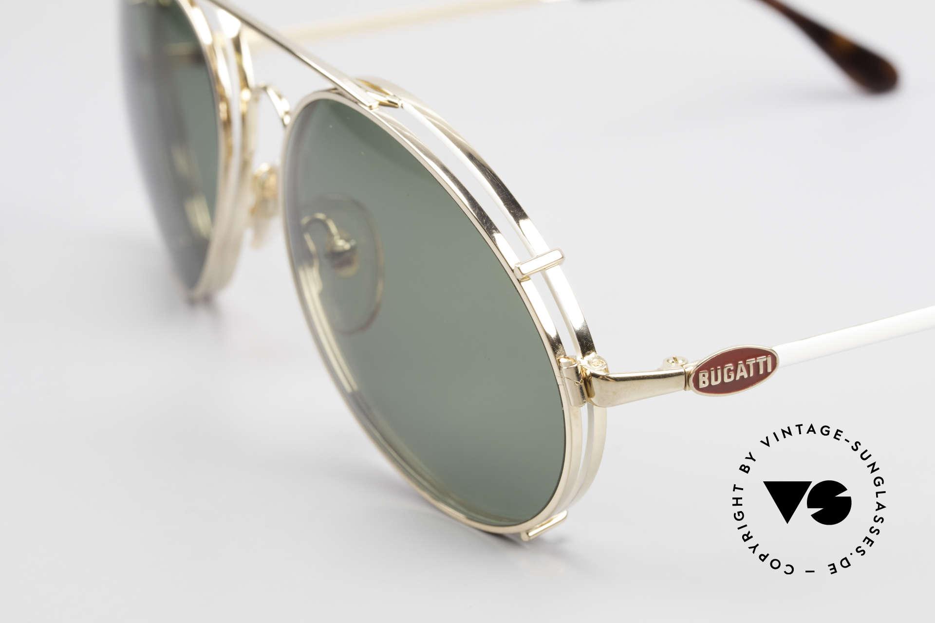 Bugatti 65987 80er Vintage Brille Mit Clip On, Fassung vergoldet/weiss mit roten Logos, Gr. 56, Passend für Herren