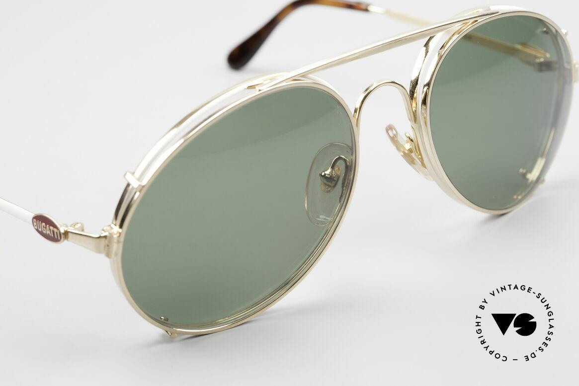 Bugatti 65987 80er Vintage Brille Mit Clip On, vergoldeter Vorhänger mit grünen Sonnengläsern, Passend für Herren
