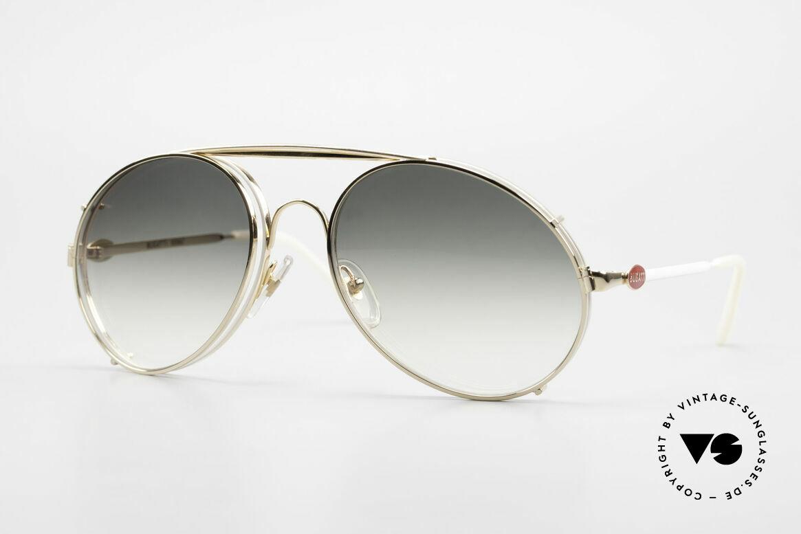 Bugatti 65987 XL Vintage Brille Mit Clip On, rare VINTAGE Bugatti 80er Luxus-Sonnenbrille, Passend für Herren