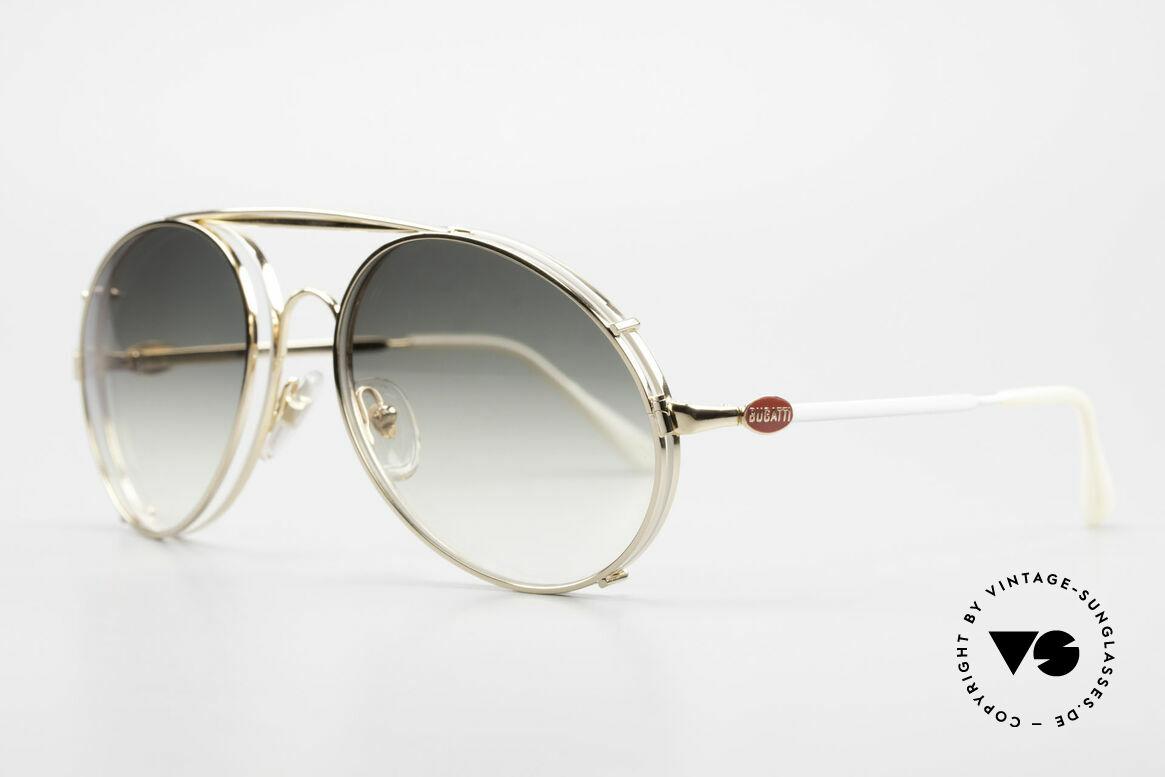 Bugatti 65987 XL Vintage Brille Mit Clip On, VINTAGE Gestell mit praktischem Sonnen-Clip, Passend für Herren