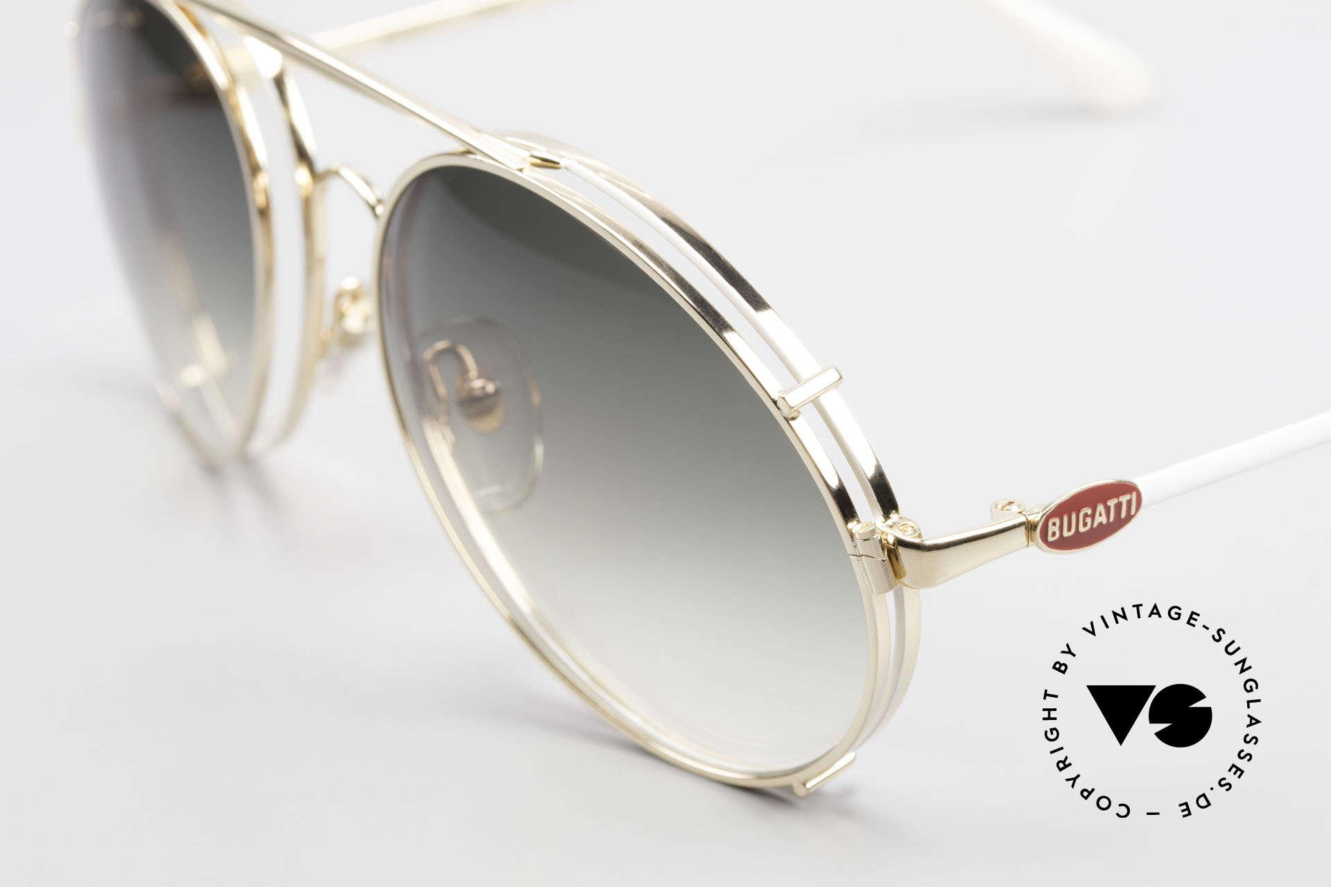 Bugatti 65987 XL Vintage Brille Mit Clip On, Fassung vergoldet/weiss mit roten Logos, Gr. 58, Passend für Herren