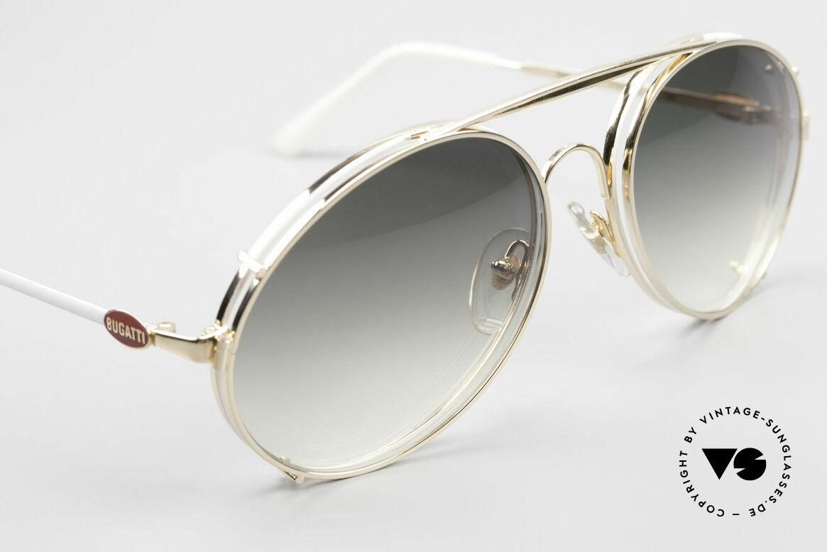 Bugatti 65987 XL Vintage Brille Mit Clip On, vergoldeter Clip-On mit Gläsern in grün-Verlauf, Passend für Herren