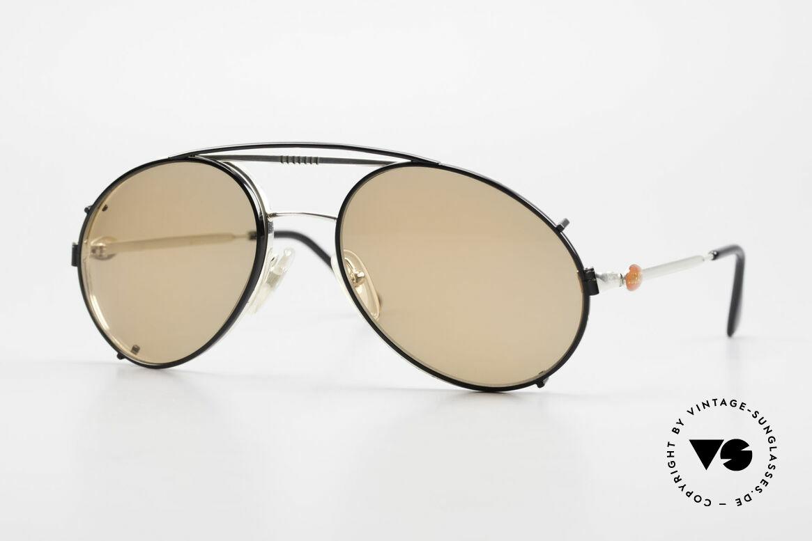 Bugatti 65996 Vintage Brille Mit Sonnenclip, rare VINTAGE Bugatti 80er Luxus-Sonnenbrille, Passend für Herren