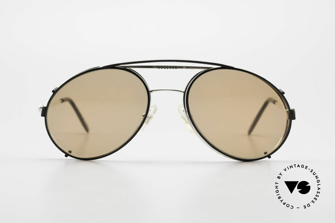 Bugatti 65996 Vintage Brille Mit Sonnenclip, in typischer / legendärer Bugatti-Tropfenform, Passend für Herren