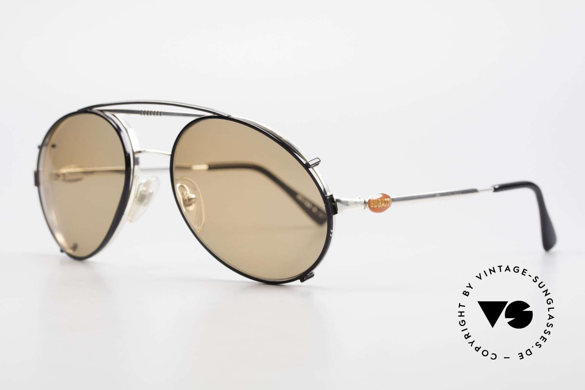 Bugatti 65996 Vintage Brille Mit Sonnenclip, VINTAGE Gestell mit praktischem Sonnen-Clip, Passend für Herren