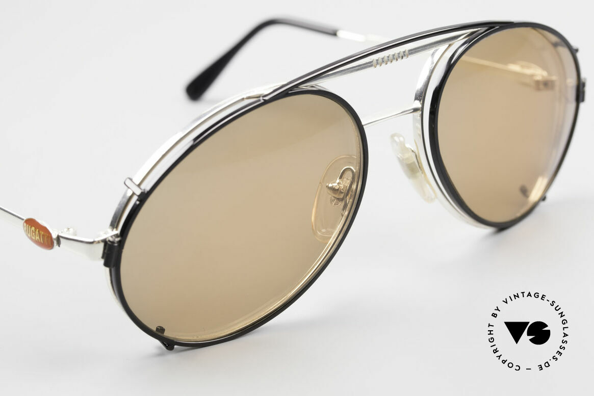 Bugatti 65996 Vintage Brille Mit Sonnenclip, schwarzer Vorhänger mit braunen Sonnengläsern, Passend für Herren