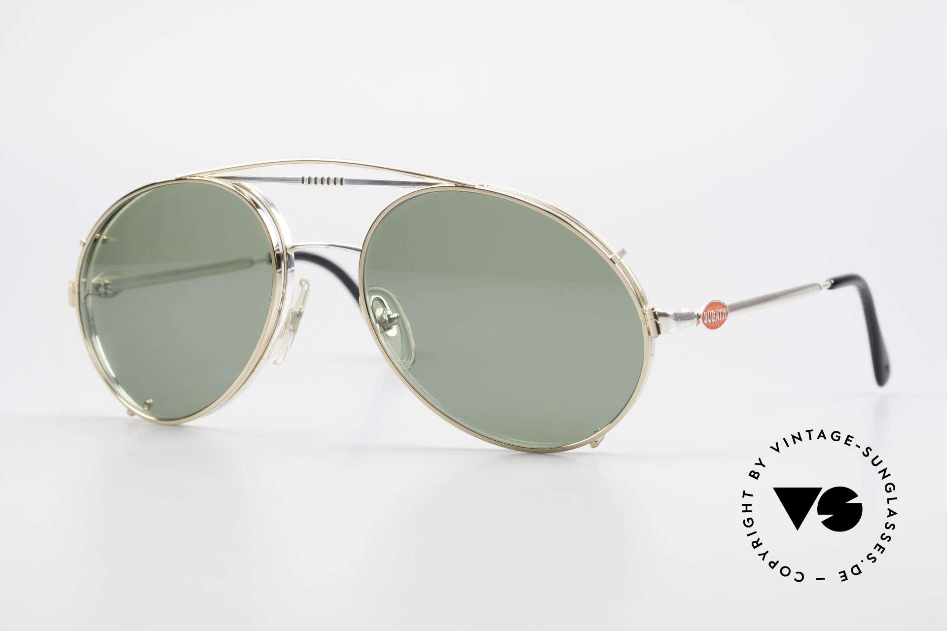 Bugatti 65996 Vintage 80er Brille Mit Clip On, rare VINTAGE Bugatti 80er Luxus-Sonnenbrille, Passend für Herren