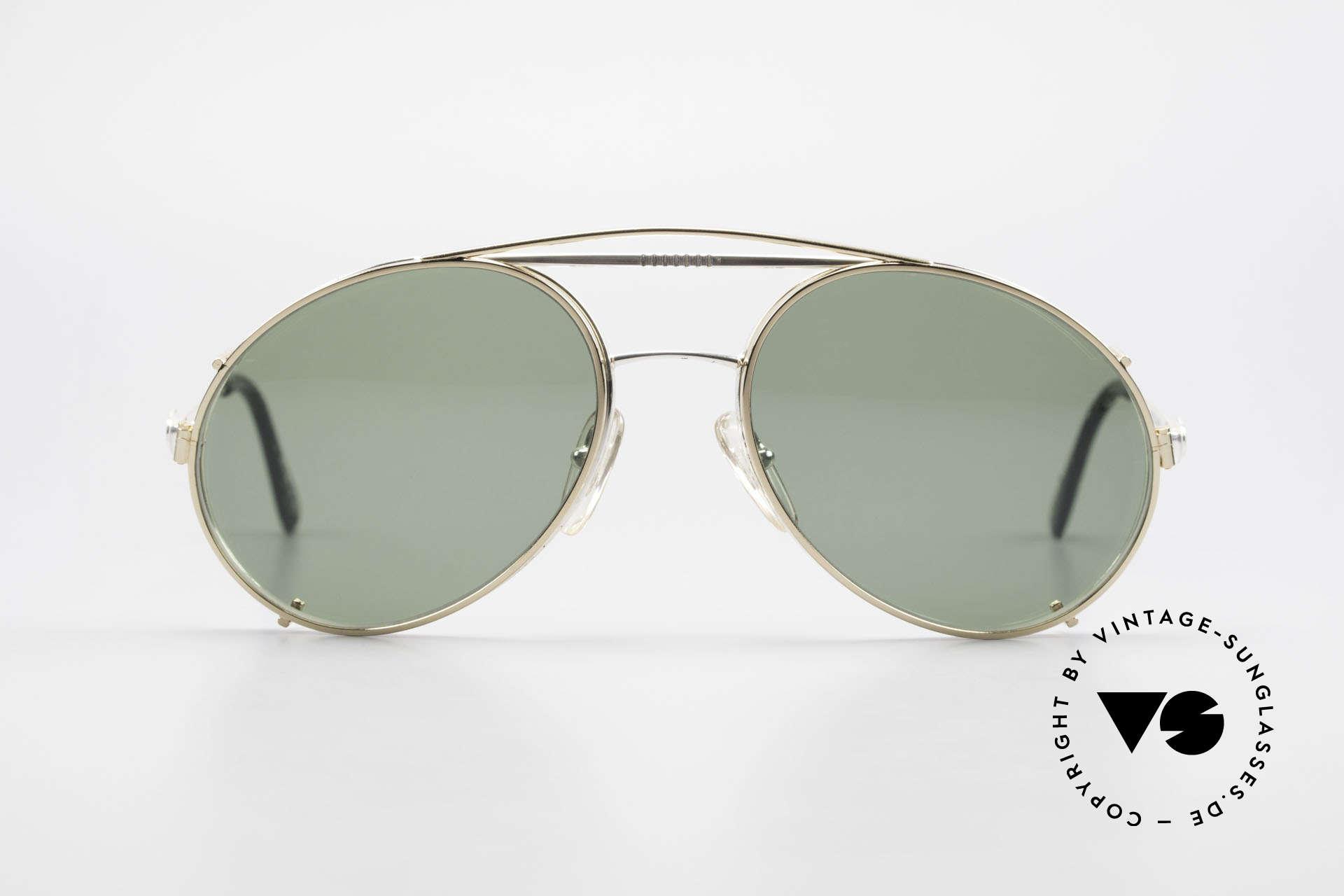 Bugatti 65996 Vintage 80er Brille Mit Clip On, in typischer / legendärer Bugatti-Tropfenform, Passend für Herren