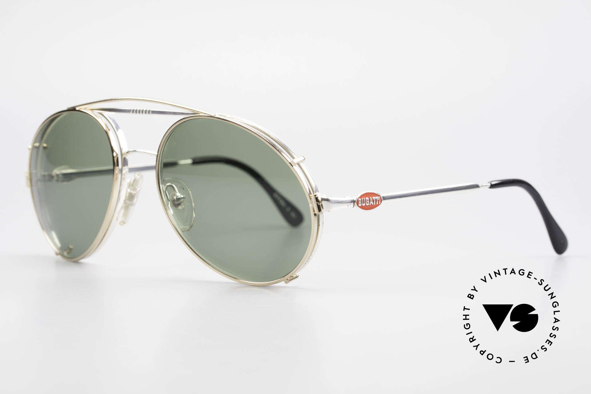 Bugatti 65996 Vintage 80er Brille Mit Clip On, VINTAGE Gestell mit praktischem Sonnen-Clip, Passend für Herren