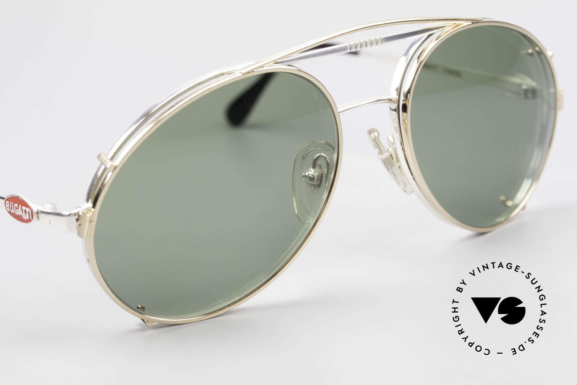 Bugatti 65996 Vintage 80er Brille Mit Clip On, goldener Vorhänger mit grünen Sonnengläsern, Passend für Herren
