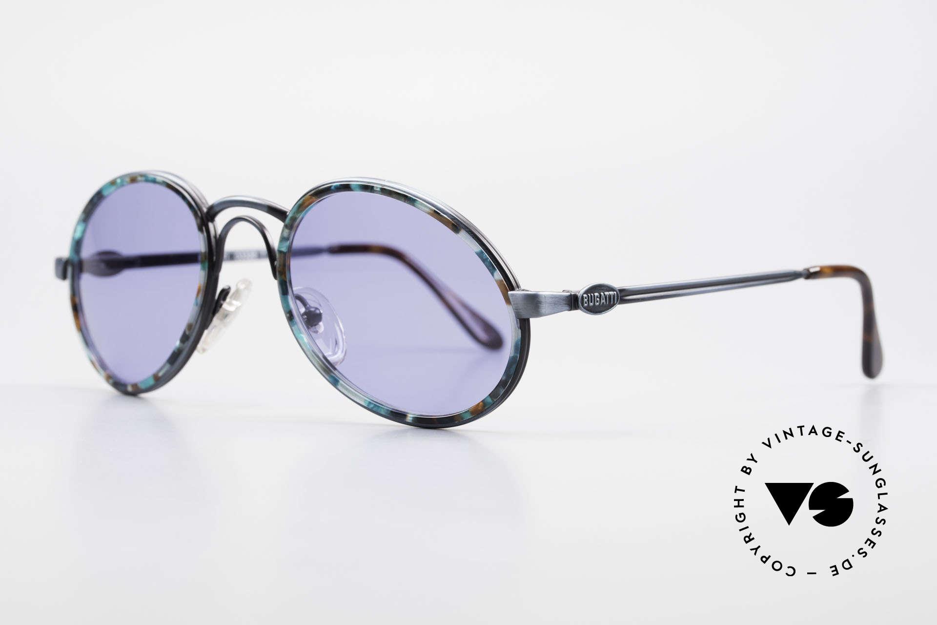 Bugatti 03328T Alte 80er Bugatti Herrenbrille, antik blaue Lackierung & Windsor-Ringe 'blau mosaik', Passend für Herren