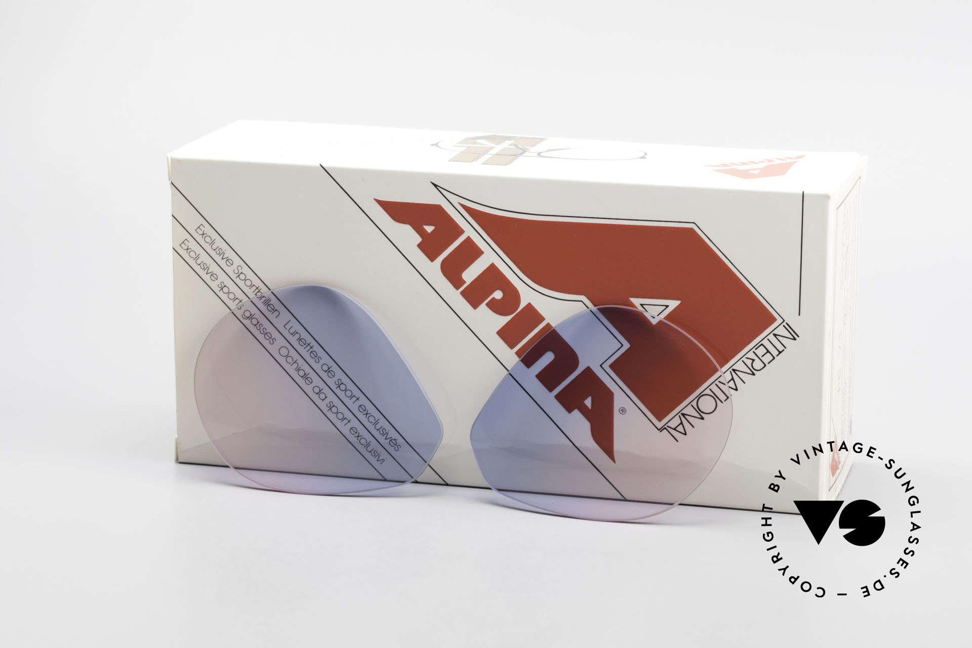 Alpina M1 Lenses Neue Gläser in Baby-Blau Pink, Ersatzgläser für die alte 80er Alpina M1 Sonnenbrille, Passend für Herren und Damen