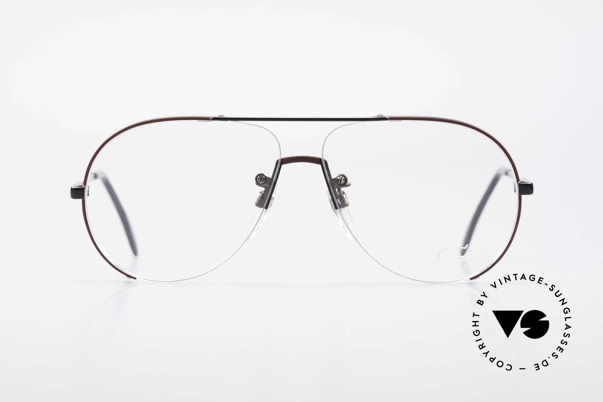 Cazal 723 Randlose 80er Pilotenbrille, interessante Konstruktion von Rahmen & Gläsern, Passend für Herren