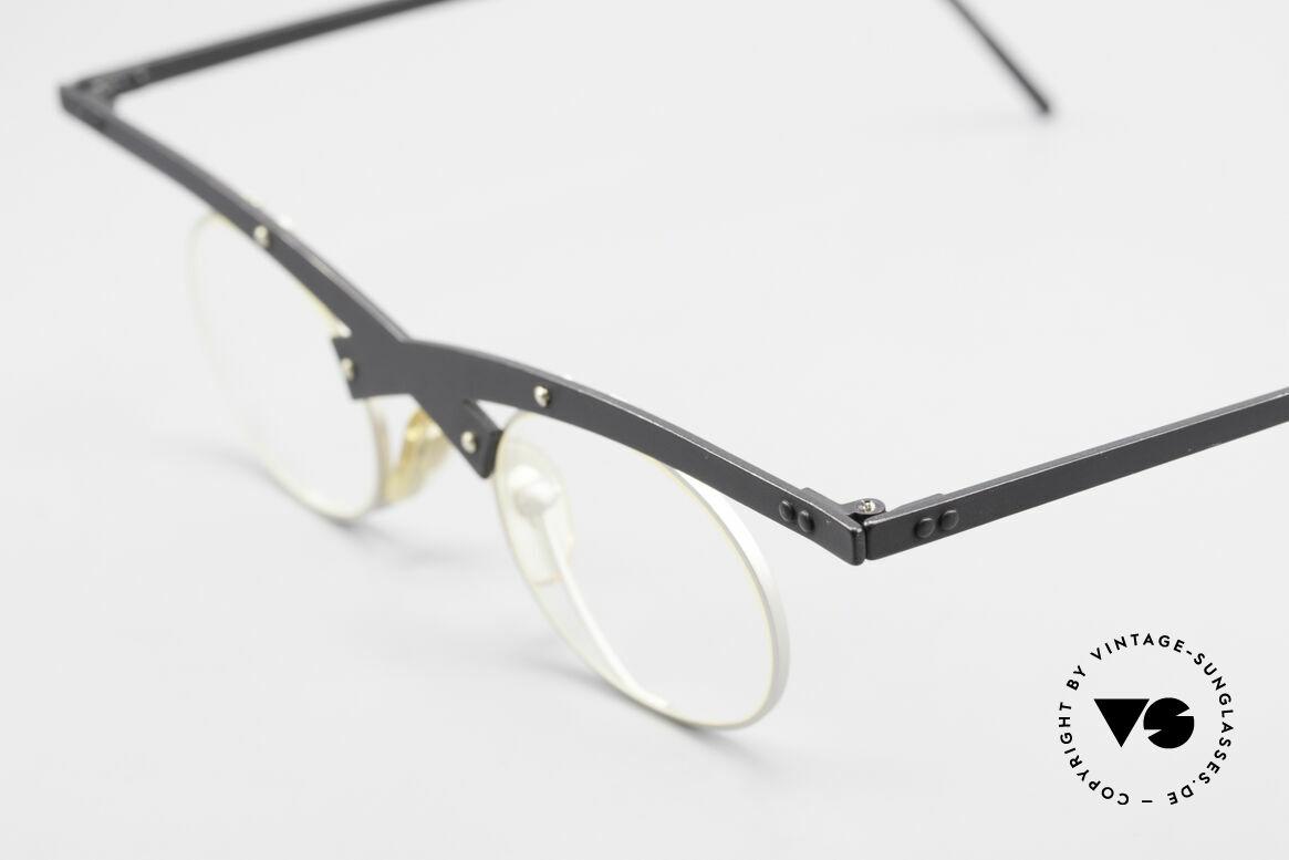 Theo Belgium Hio 11S Verrückte 90er Vintage Brille, wirklich außergewöhnliche Fassung; ein Kunstobjekt, Passend für Herren und Damen