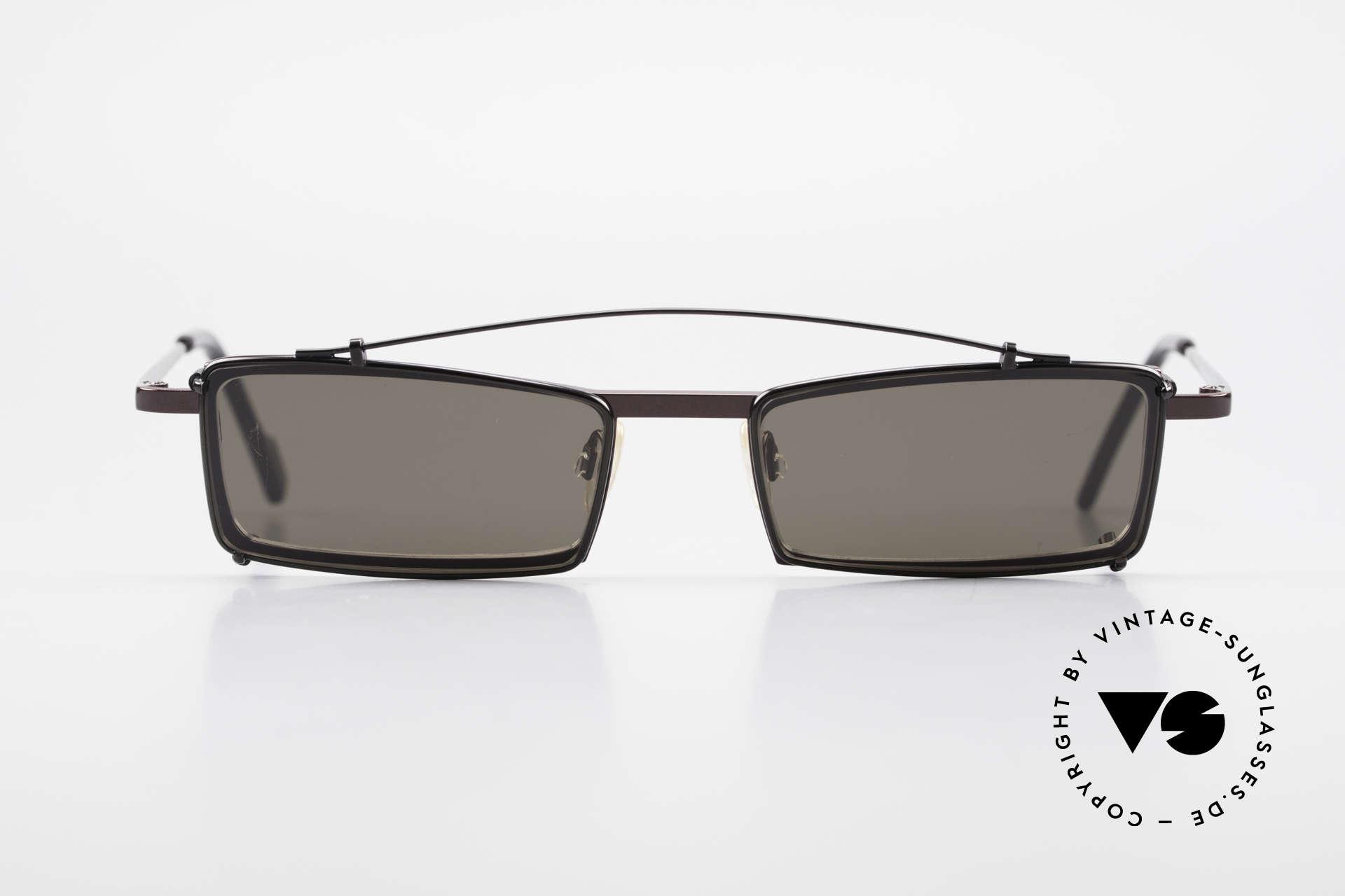 Theo Belgium XXM Clip On Designerbrille Eckig, 1989 gegründet als GEGENPOL zum üblich 'Mainstream', Passend für Herren und Damen
