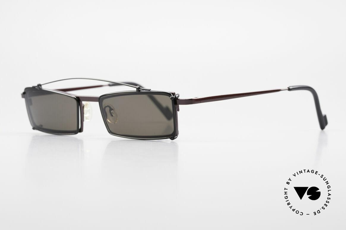 Theo Belgium XXM Clip On Designerbrille Eckig, damals gemacht für die 'Avantgarde' und Individualisten, Passend für Herren und Damen