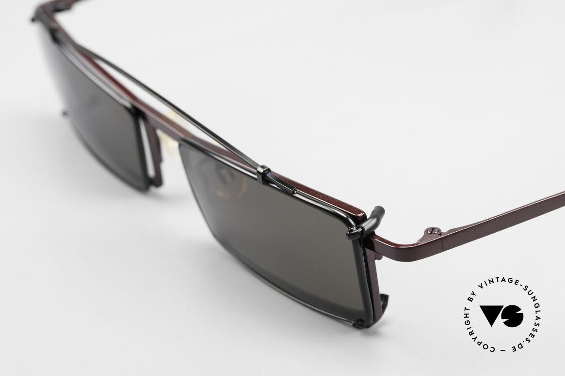 Theo Belgium XXM Clip On Designerbrille Eckig, eckiger Rahmen mit Sonnen-Clip (für 100% UV Schutz), Passend für Herren und Damen