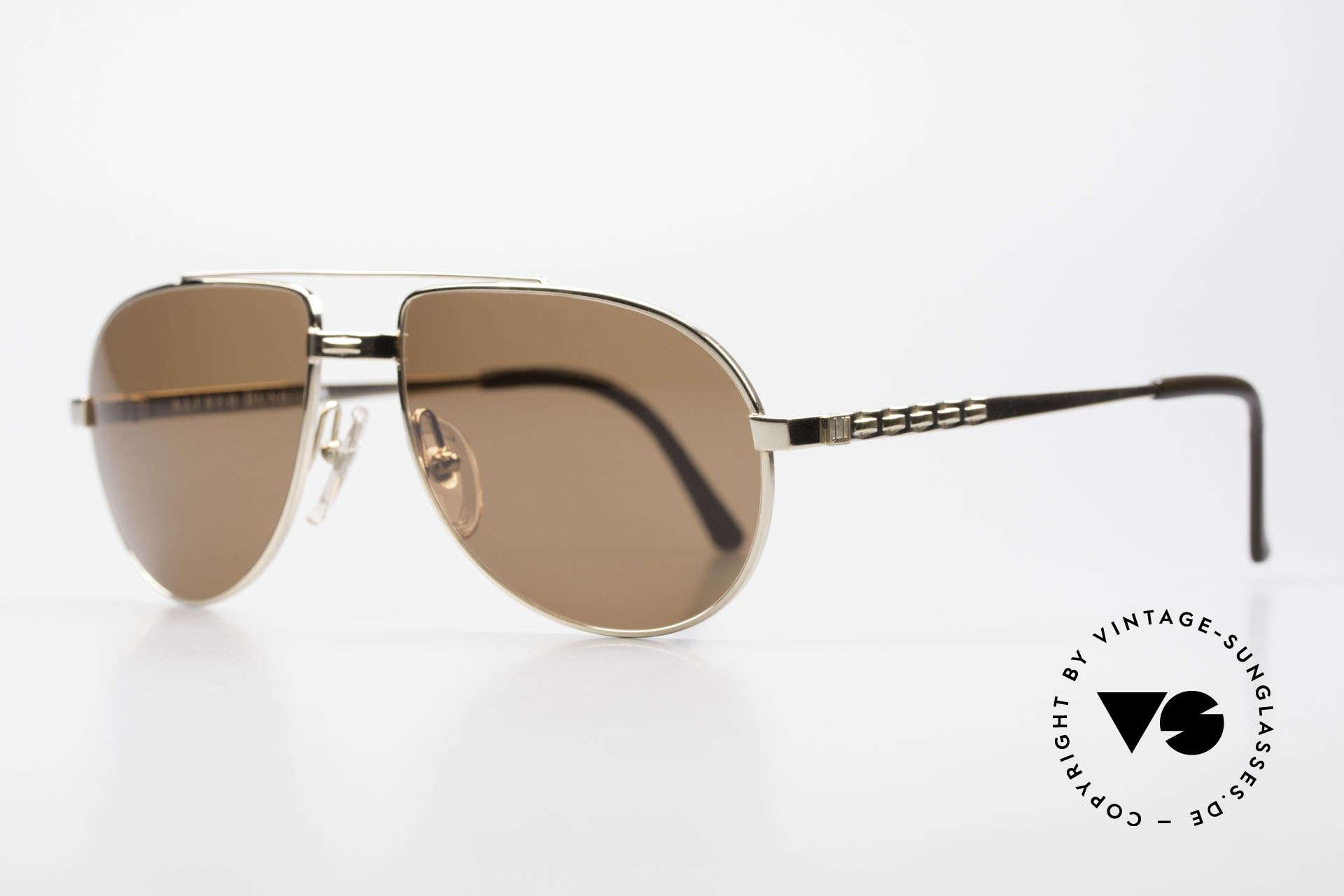 Dunhill 6147 90er Luxus Aviator Herrenbrille, vergoldeter Rahmen mit braun getönten Sonnengläsern, Passend für Herren