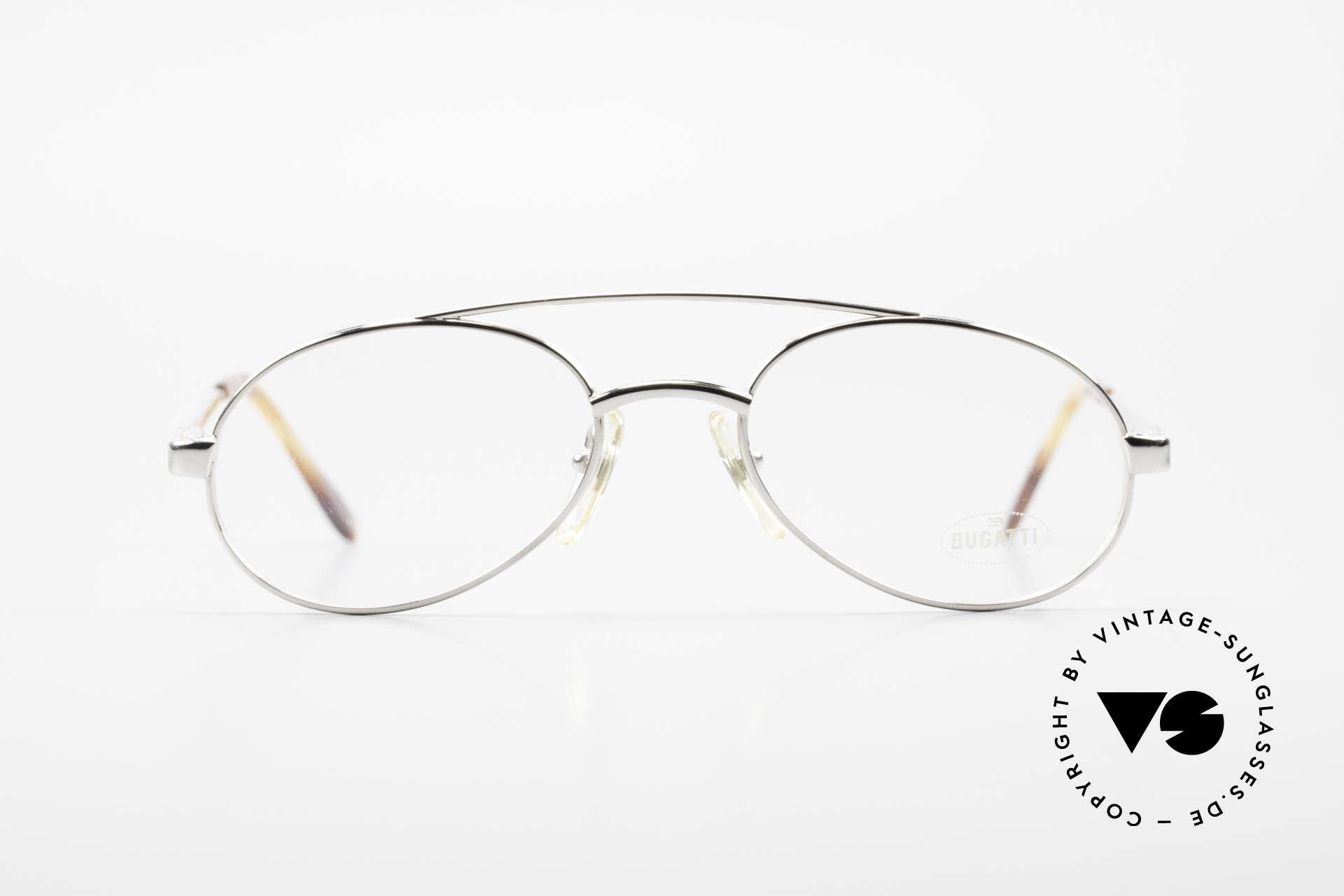 Bugatti 08104 80er Herren Vintage Brille, charakteristische Bugatti Herrenform (Tropfenform), Passend für Herren