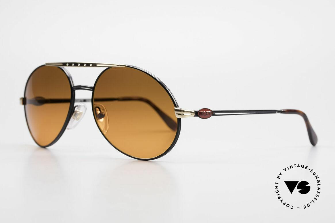 Bugatti 02927 Sunset Sonnengläser Rarität, noble Rahmen-Lackierung: schwarz/gold + rote Logos, Passend für Herren