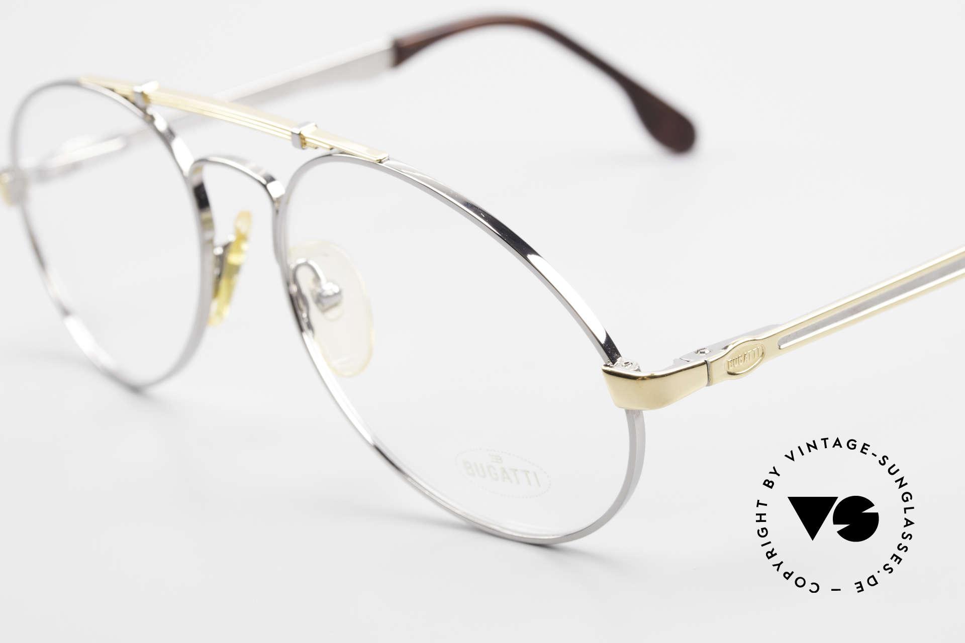 Bugatti 11946 Large 80er Herren Luxus Brille, Rahmen silber/gold; Brücke wie eine Blattfeder, Passend für Herren