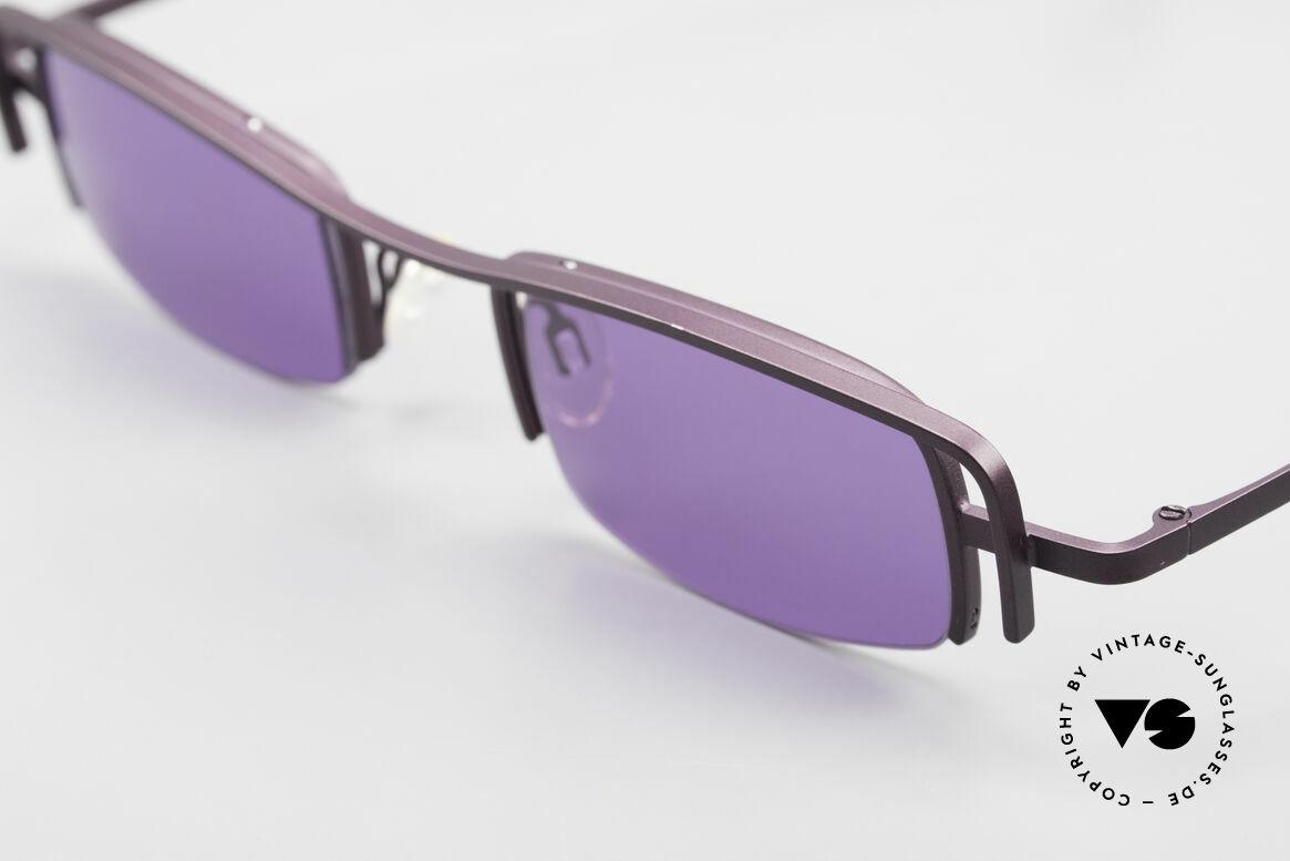 Theo Belgium Winter Damen Sonnenbrille Eckig 90er, sehr spezielle dunkle Lackierung in VIOLETT METALLIC, Passend für Damen