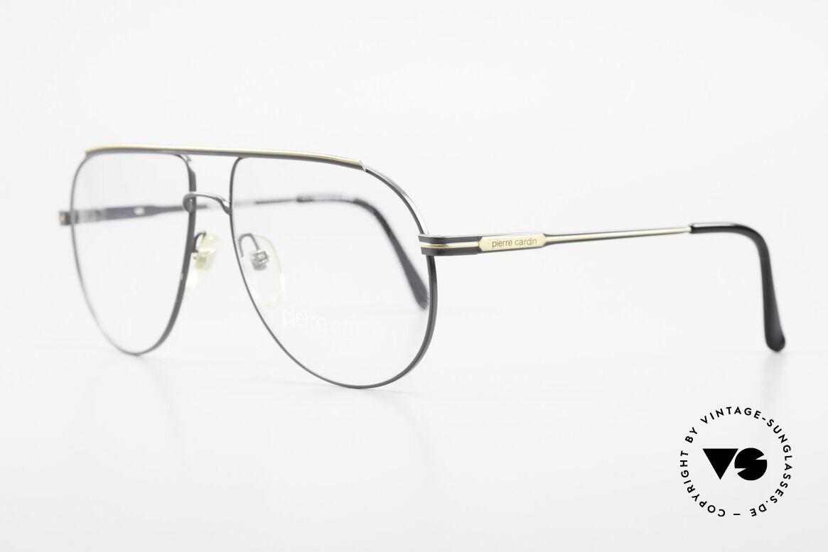 Pierre Cardin 803 80er Tropfenform Herrenbrille, sehr elegante Lackierung in dunkelgrau / gold, Passend für Herren
