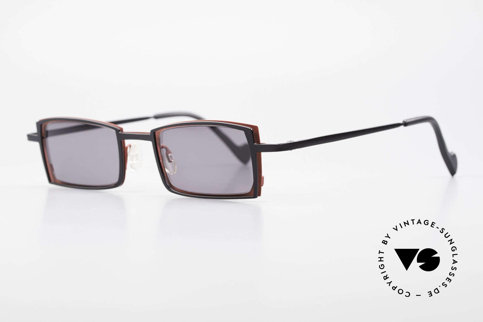 Theo Belgium Tarot Eckige Designer Sonnenbrille, damals gemacht für die 'Avantgarde' und Individualisten, Passend für Herren und Damen