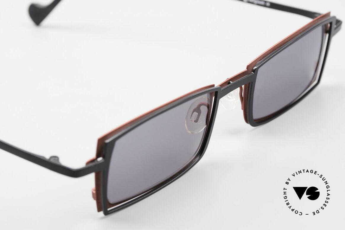 Theo Belgium Tarot Eckige Designer Sonnenbrille, ungetragenes THEO-Einzelstück für die, die sich trauen!, Passend für Herren und Damen