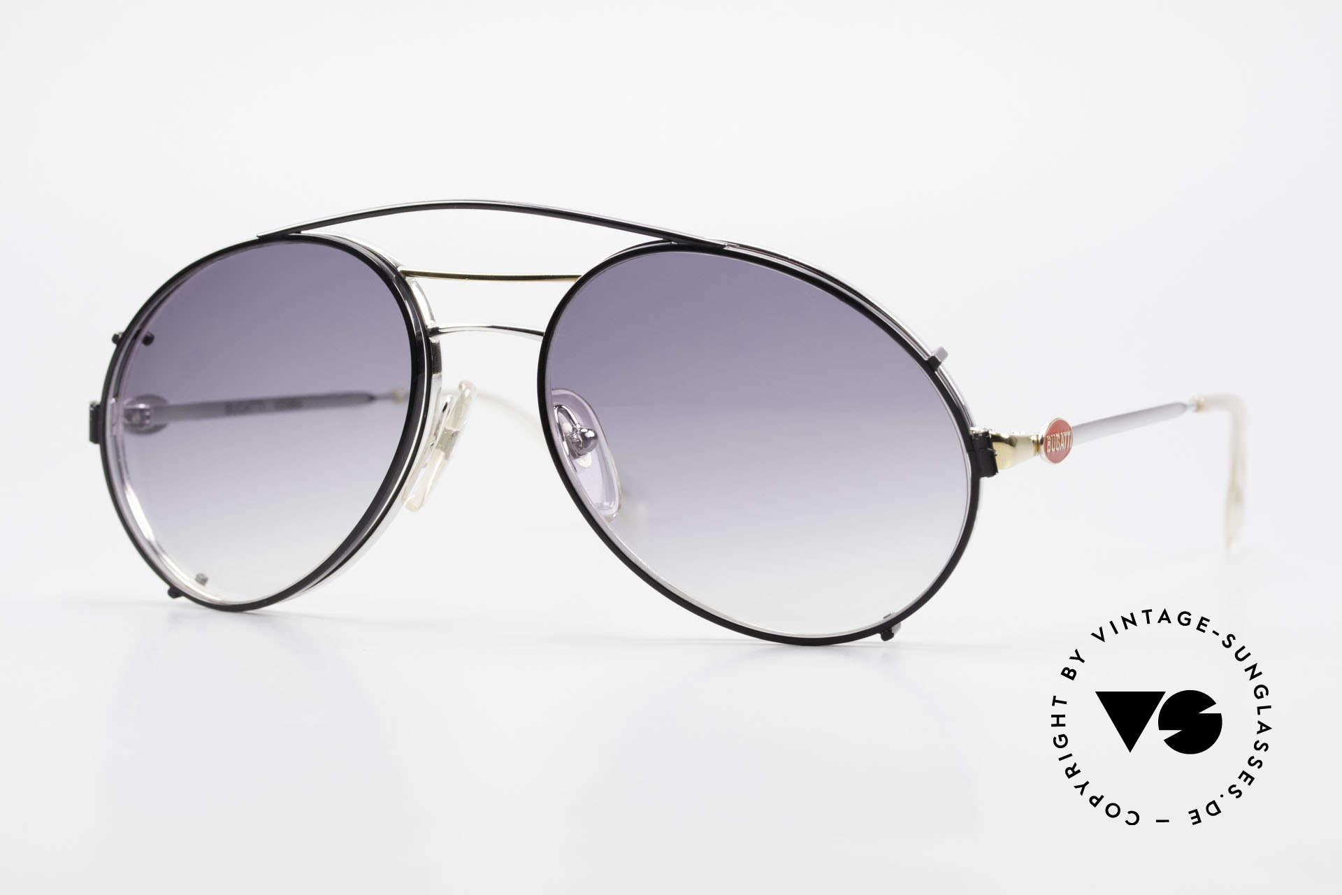 Bugatti 65984 80er Brille Mit Sonnen-Clip, original vintage 80er Bugatti Herren-Sonnenbrille, Passend für Herren
