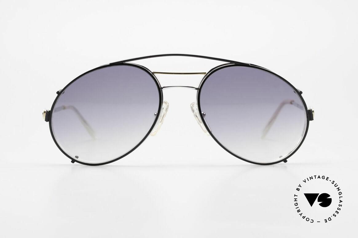 Bugatti 65984 80er Brille Mit Sonnen-Clip, außergewöhnliche Rahmenform in 54mm Glasgröße, Passend für Herren