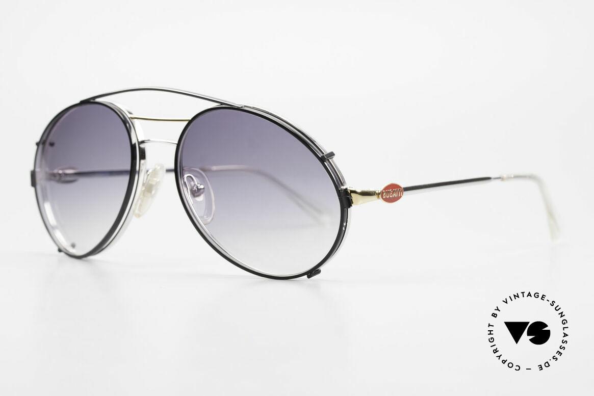 """Bugatti 65984 80er Brille Mit Sonnen-Clip, häufig auch als """"traurige Tropfenform"""" bezeichnet, Passend für Herren"""