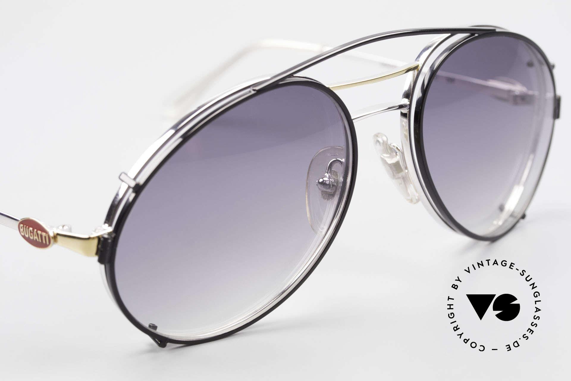 Bugatti 65984 80er Brille Mit Sonnen-Clip, ungetragen; wie alle unsere vintage Bugatti Modelle, Passend für Herren