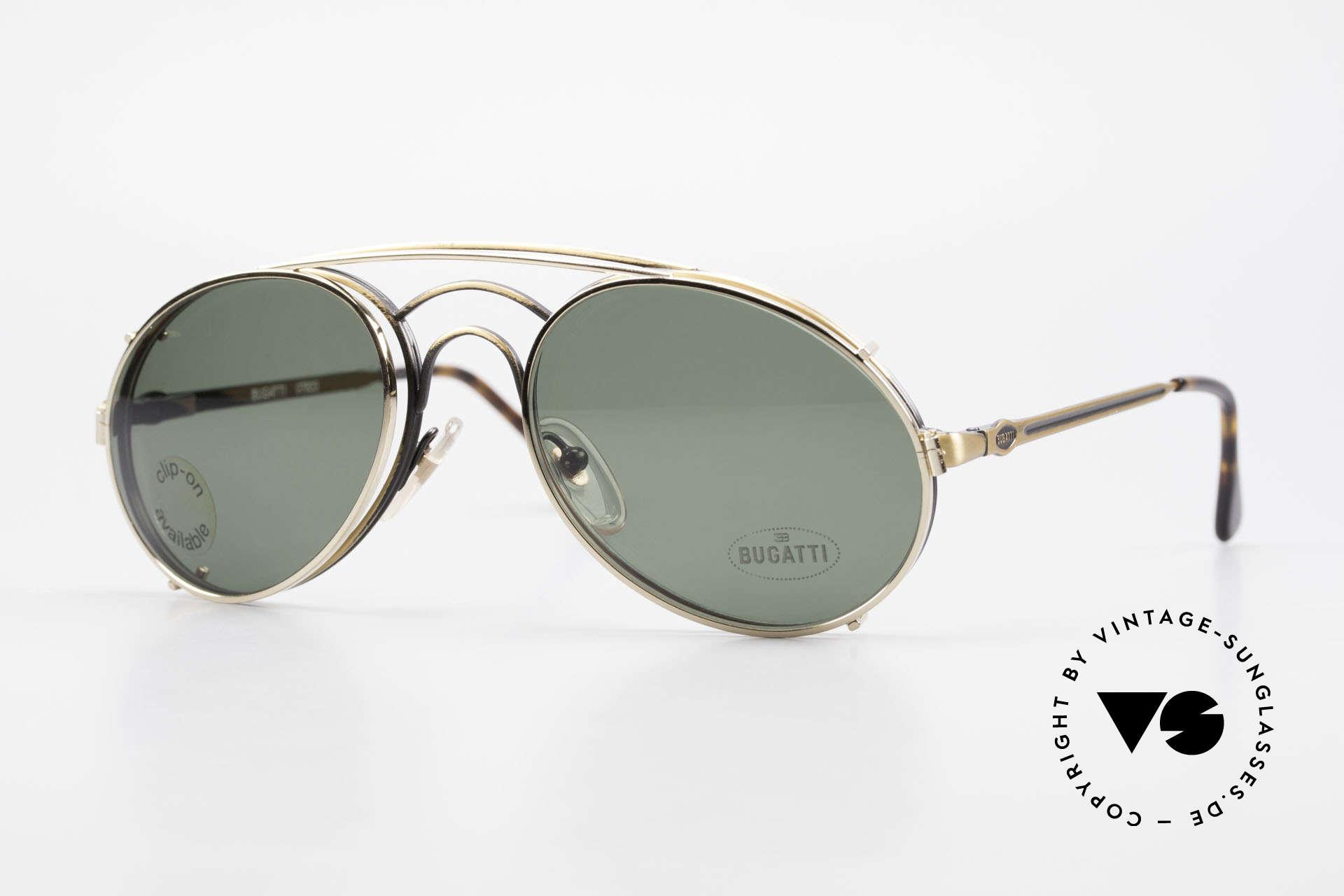 Bugatti 07823 Alte 80er Brille mit Vorhänger, klassisches BUGATTI Sonnenbrillen-Design von 1989, Passend für Herren