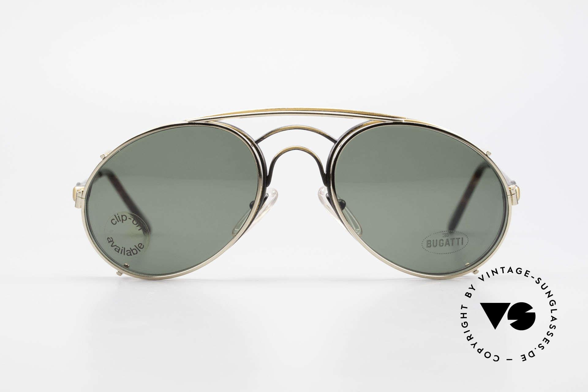 Bugatti 07823 Alte 80er Brille mit Vorhänger, legendäre Bugatti Herren(Tropfen)-Form in Gr. 52mm, Passend für Herren