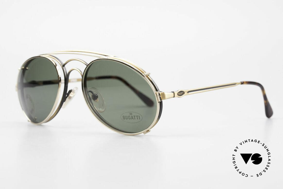 Bugatti 07823 Alte 80er Brille mit Vorhänger, Rahmen mit Federscharnieren für optimalen Komfort, Passend für Herren